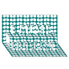 Teal And White Leaf Pattern Laugh Live Love 3d Greeting Card (8x4)