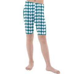 Teal And White Leaf Pattern Kid s swimwear