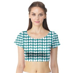 Teal And White Leaf Pattern Short Sleeve Crop Top