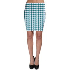 Teal And White Leaf Pattern Bodycon Skirts