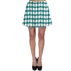 Teal And White Leaf Pattern Skater Skirts