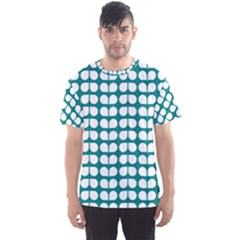 Teal And White Leaf Pattern Men s Sport Mesh Tees