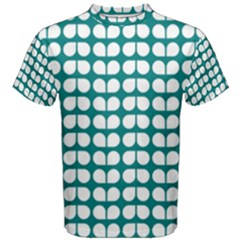 Teal And White Leaf Pattern Men s Cotton Tees