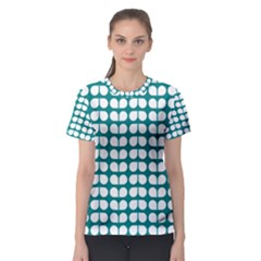 Teal And White Leaf Pattern Women s Sport Mesh Tees