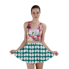 Teal And White Leaf Pattern Mini Skirts