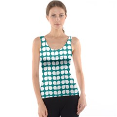 Teal And White Leaf Pattern Tank Tops