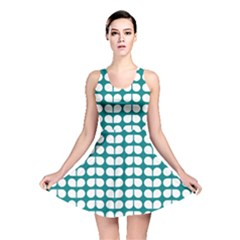 Teal And White Leaf Pattern Reversible Skater Dresses