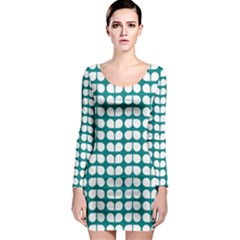 Teal And White Leaf Pattern Long Sleeve Bodycon Dresses