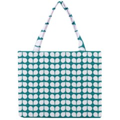 Teal And White Leaf Pattern Tiny Tote Bags