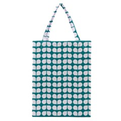 Teal And White Leaf Pattern Classic Tote Bags