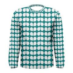 Teal And White Leaf Pattern Men s Long Sleeve T-shirts