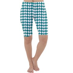 Teal And White Leaf Pattern Cropped Leggings