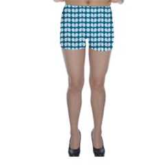 Teal And White Leaf Pattern Skinny Shorts