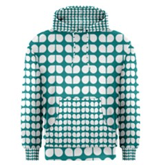 Teal And White Leaf Pattern Men s Pullover Hoodies