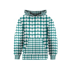 Teal And White Leaf Pattern Kid s Pullover Hoodies