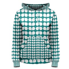 Teal And White Leaf Pattern Women s Pullover Hoodies