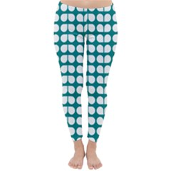 Teal And White Leaf Pattern Winter Leggings