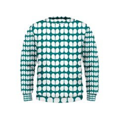 Teal And White Leaf Pattern Boys  Sweatshirts