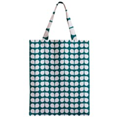 Teal And White Leaf Pattern Zipper Classic Tote Bags