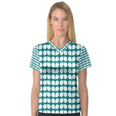 Teal And White Leaf Pattern Women s V Neck Sport Mesh Tee