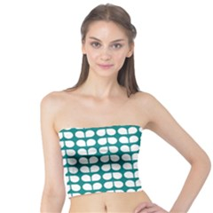 Teal And White Leaf Pattern Women s Tube Tops
