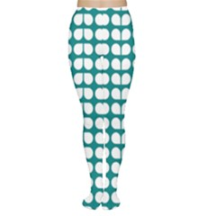 Teal And White Leaf Pattern Women s Tights