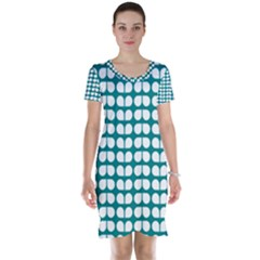 Teal And White Leaf Pattern Short Sleeve Nightdresses