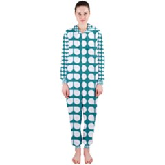 Teal And White Leaf Pattern Hooded Jumpsuit (ladies)