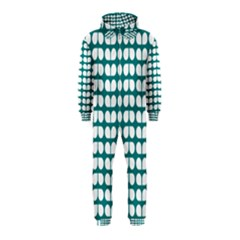 Teal And White Leaf Pattern Hooded Jumpsuit (Kids)