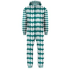 Teal And White Leaf Pattern Hooded Jumpsuit (men)