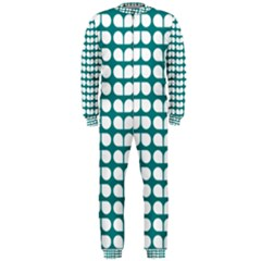 Teal And White Leaf Pattern OnePiece Jumpsuit (Men)