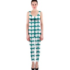 Teal And White Leaf Pattern OnePiece Catsuits