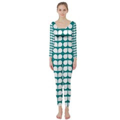 Teal And White Leaf Pattern Long Sleeve Catsuit