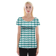 Teal And White Leaf Pattern Women s Cap Sleeve Top