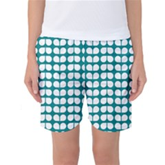 Teal And White Leaf Pattern Women s Basketball Shorts