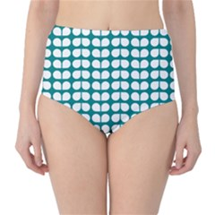 Teal And White Leaf Pattern High Waist Bikini Bottoms