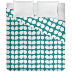 Teal And White Leaf Pattern Duvet Cover (double Size)