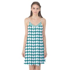 Teal And White Leaf Pattern Camis Nightgown