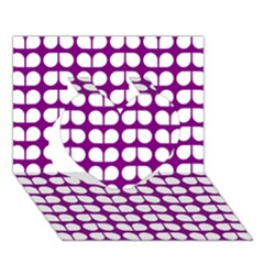 Purple And White Leaf Pattern Heart 3d Greeting Card (7x5)