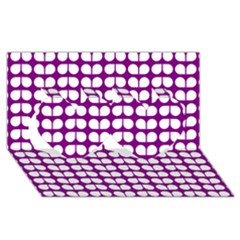 Purple And White Leaf Pattern Twin Hearts 3D Greeting Card (8x4)
