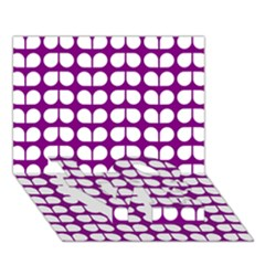 Purple And White Leaf Pattern LOVE Bottom 3D Greeting Card (7x5)
