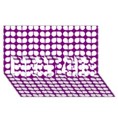 Purple And White Leaf Pattern Best Sis 3d Greeting Card (8x4)