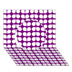 Purple And White Leaf Pattern Circle 3d Greeting Card (7x5)