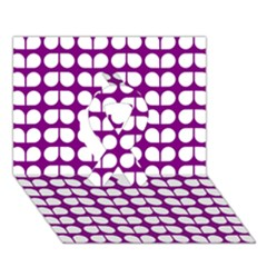 Purple And White Leaf Pattern Ribbon 3d Greeting Card (7x5)
