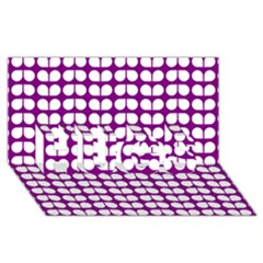 Purple And White Leaf Pattern HUGS 3D Greeting Card (8x4)