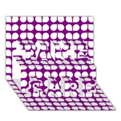 Purple And White Leaf Pattern TAKE CARE 3D Greeting Card (7x5)