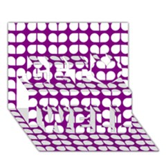 Purple And White Leaf Pattern Get Well 3d Greeting Card (7x5)