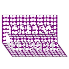 Purple And White Leaf Pattern Happy New Year 3D Greeting Card (8x4)