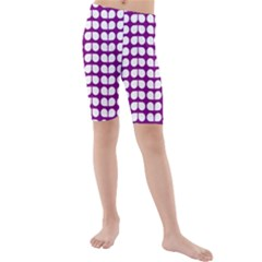 Purple And White Leaf Pattern Kid s swimwear