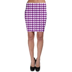 Purple And White Leaf Pattern Bodycon Skirts